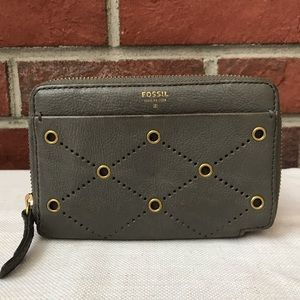FOSSIL GRAY LEATHER ZIP WALLET